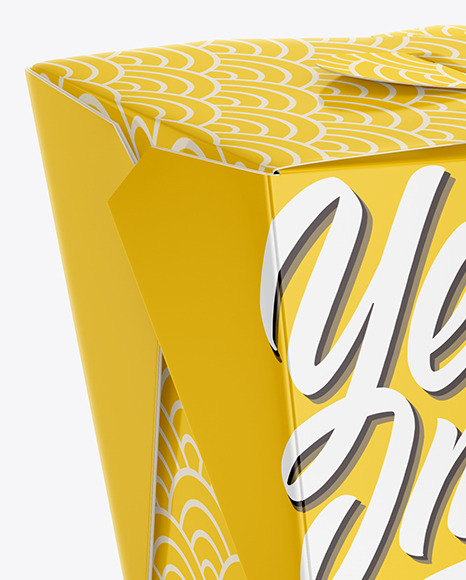 Glossy Paper Noodles Box Mockup - Half Side View (High Angle Shot)