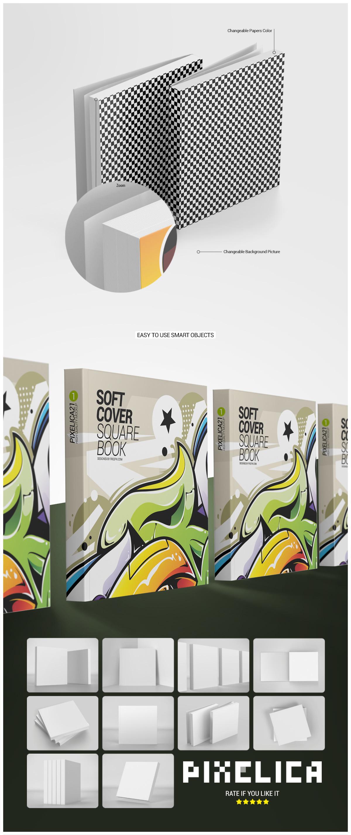 Soft Cover Square Book Mockup