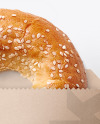 Paper Pack with Donut with Sesame Seeds Mockup