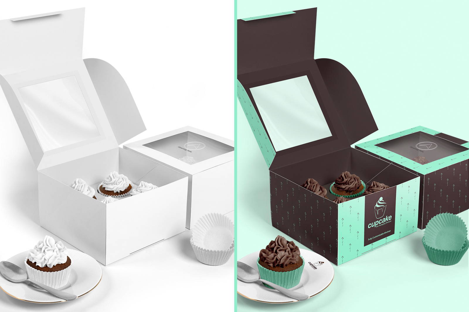 Cupcake Box Packaging Mockups Bundle