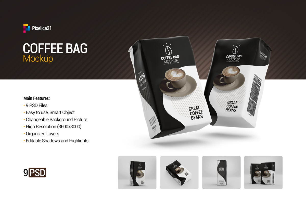 Download Coffee Bag Mockup In Packaging Mockups On Yellow Images Creative Store PSD Mockup Templates