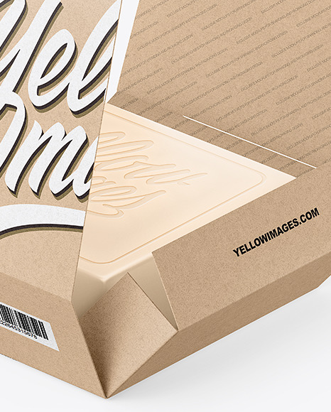 Download Opened Soap Bar Kraft Paper Packaging Box Mockup In Box Mockups On Yellow Images Object Mockups PSD Mockup Templates