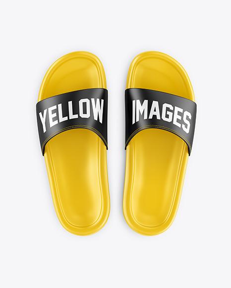 Download Matte Flip Flops Mockup Top View Yellow Images