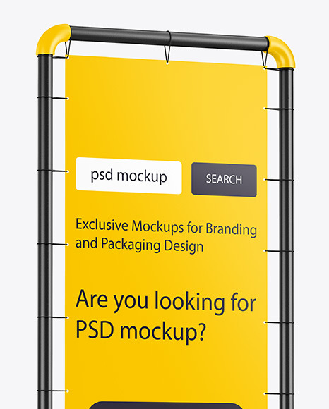 Plastic Stand w/ Matte Banner Mockup - Side View