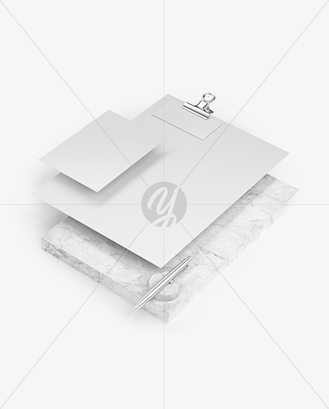 Papers, Business Card & Pen with Marble