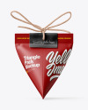 Triangle Matte Paper Packaging With Rope Bow Mockup