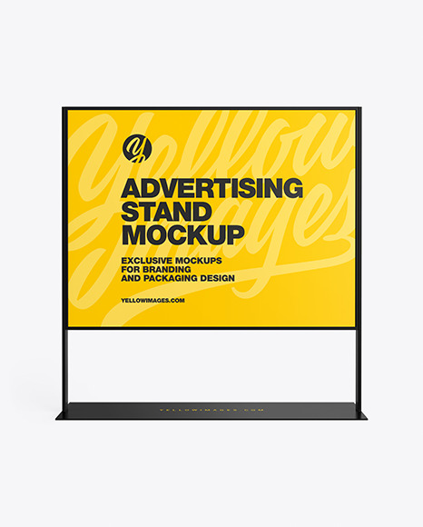 Download Advertising Stand Mockup In Outdoor Advertising Mockups On Yellow Images Object Mockups PSD Mockup Templates