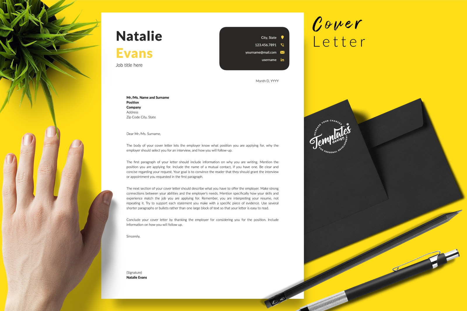 Simple Resume Template for Microsoft Word & Apple Pages // Natalie Evans CV Design Template