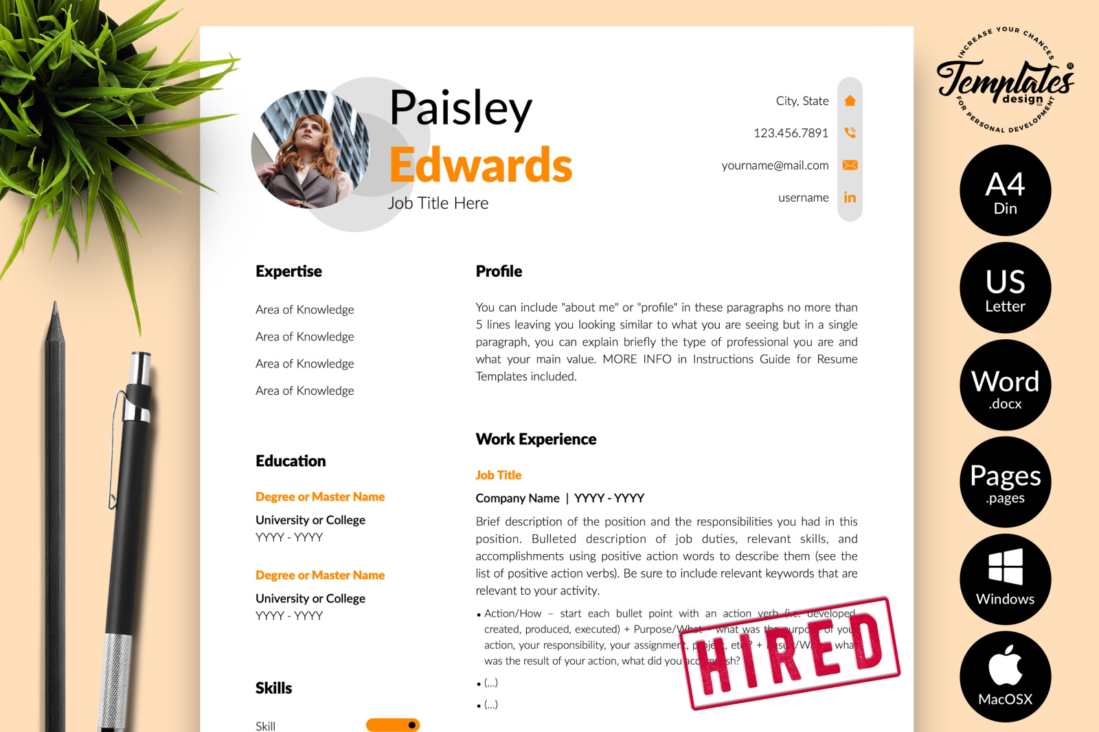 Modern Resume Template for Microsoft Word & Apple Pages // Paisley Edwards CV Design Template