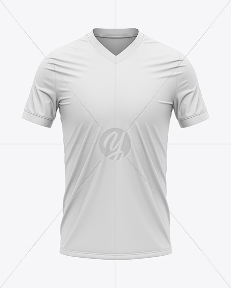 Men's V-Neck Soccer Jersey T-Shirt Mockup - Front View