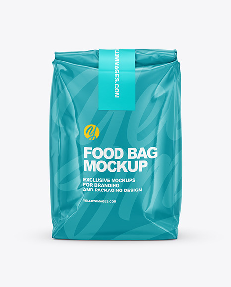 Download Glossy Food Bag Mockup Front View In Bag Sack Mockups On Yellow Images Object Mockups PSD Mockup Templates