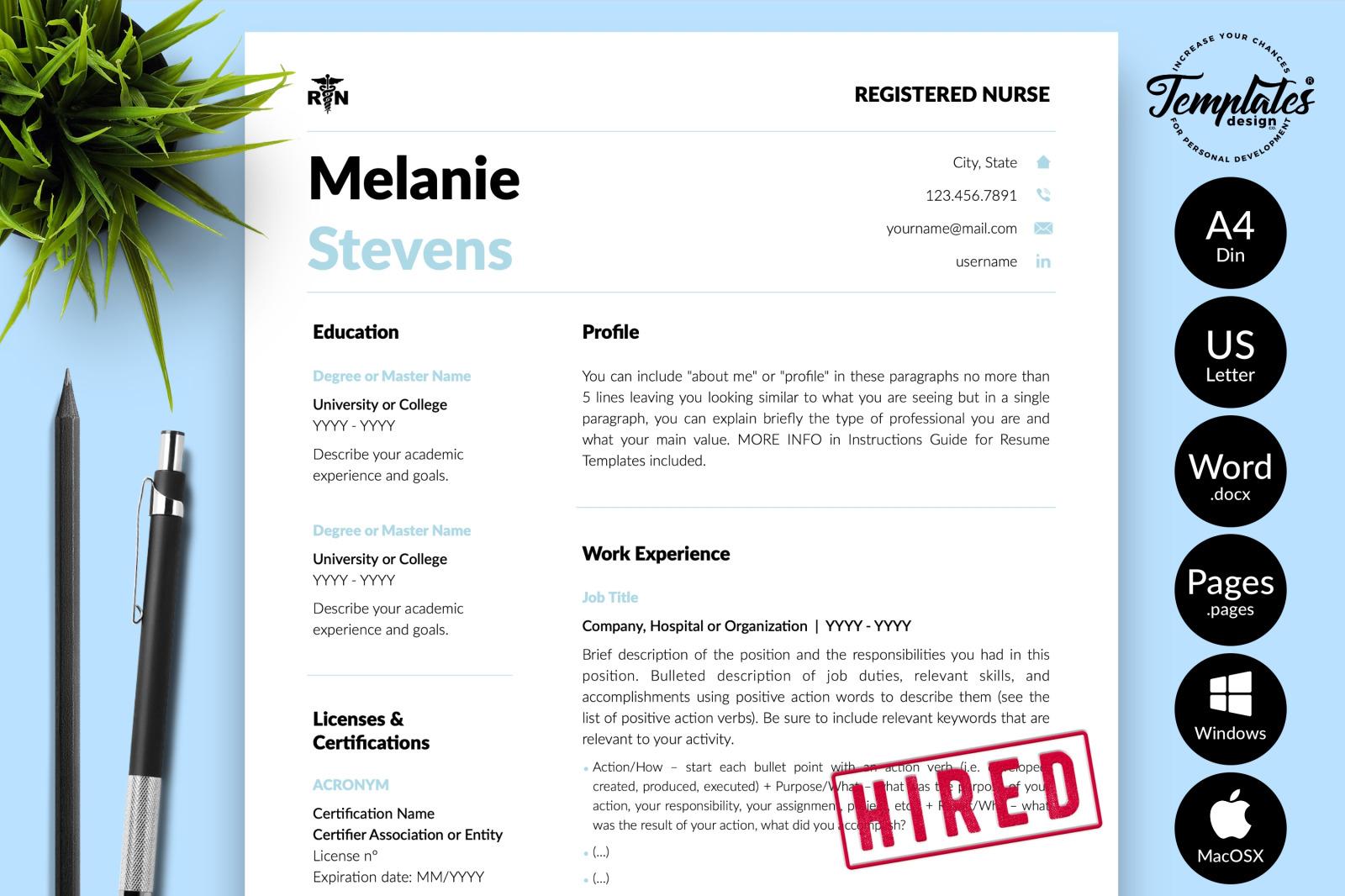 Nurse Resume Template for Microsoft Word & Apple Pages // Melanie Stevens CV Design Template