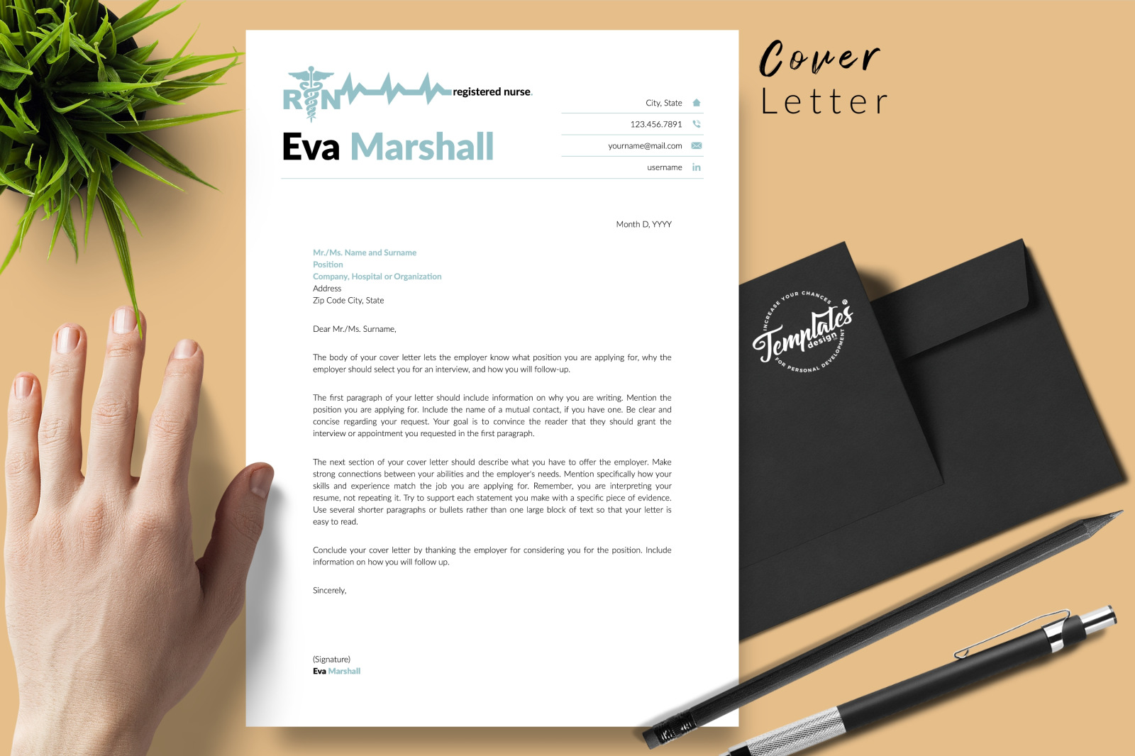 Nurse Resume Template for Microsoft Word & Apple Pages // Eva Marshall CV Design Template