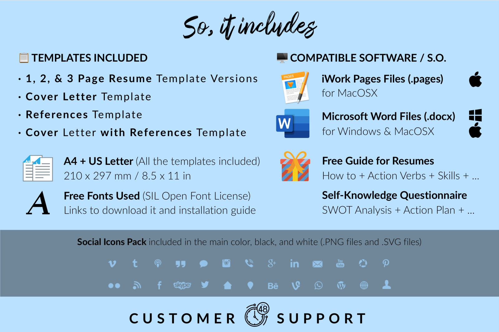 Simple Resume Template for Microsoft Word & Apple Pages // Layla Thompson CV Design Template