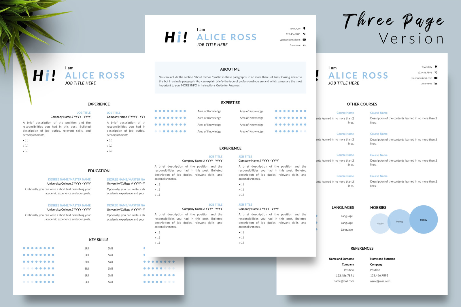 Creative Resume Template for Microsoft Word & Apple Pages // Alice Ross CV Design Template