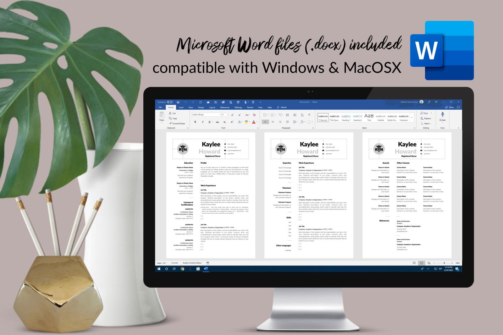 Nurse Resume Template for Microsoft Word & Apple Pages // Kaylee Howard CV Design Template