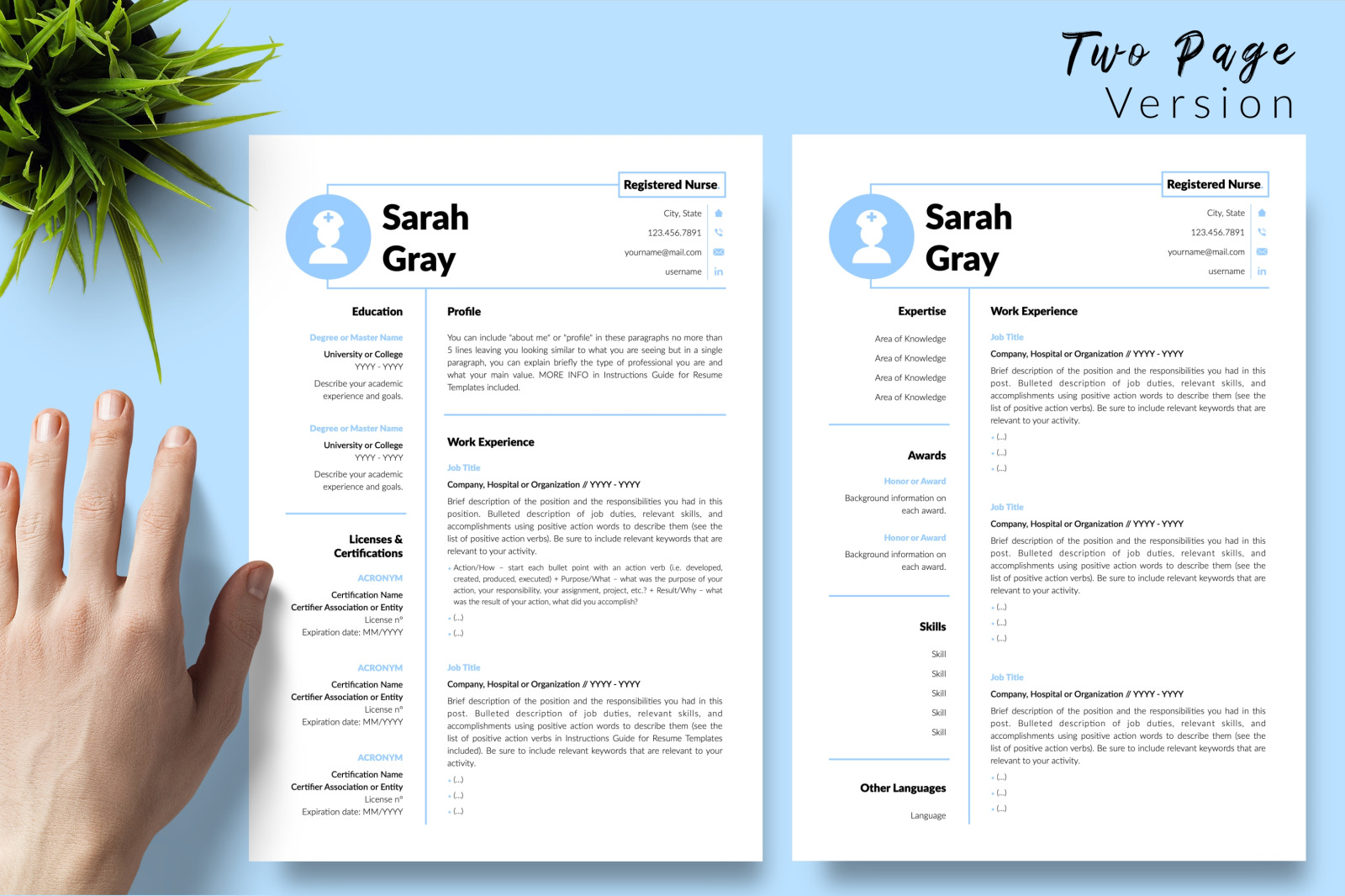 Nurse Resume Template for Microsoft Word & Apple Pages // Sarah Gray CV Design Template