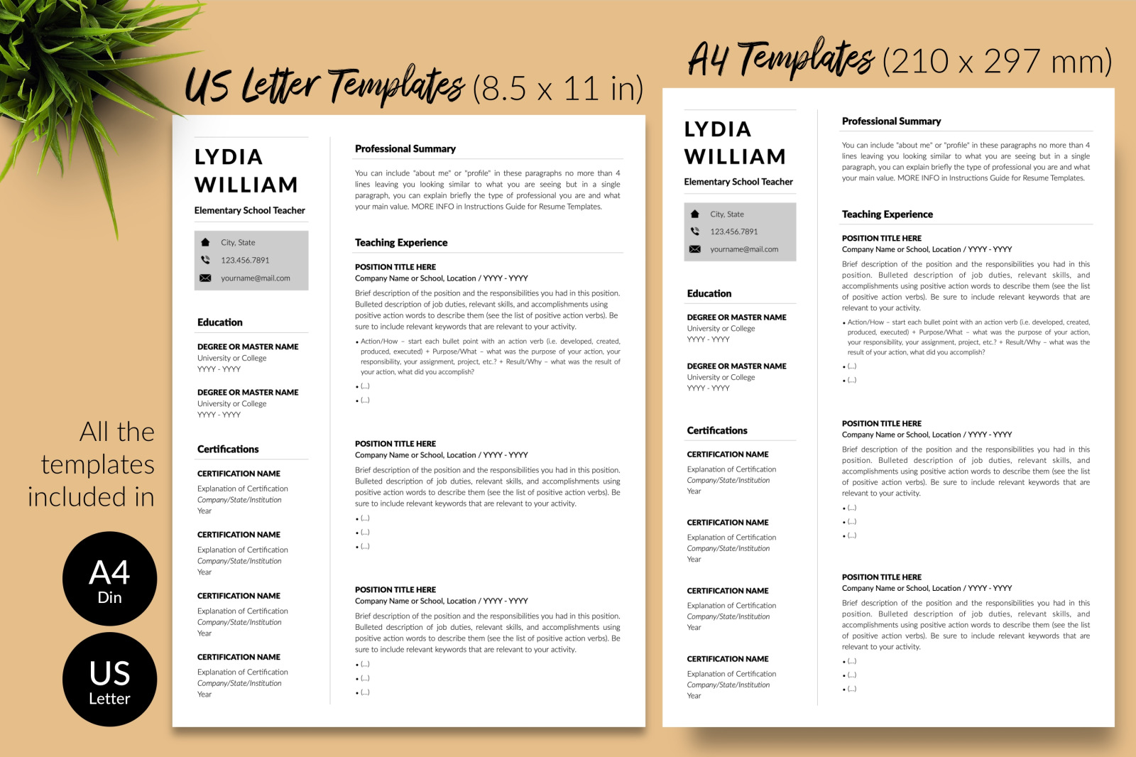 Teacher Resume Template for Microsoft Word & Apple Pages // Lydia William CV Design Template