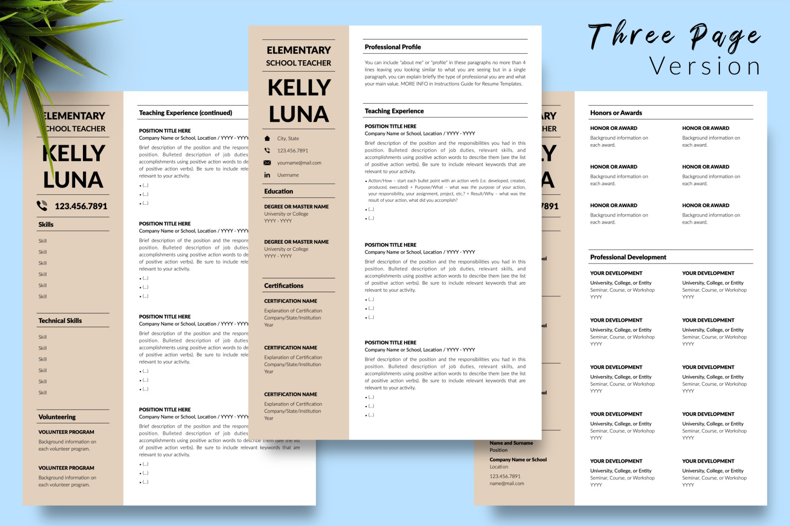 Teacher Resume Template for Microsoft Word & Apple Pages // Kelly Luna CV Design Template