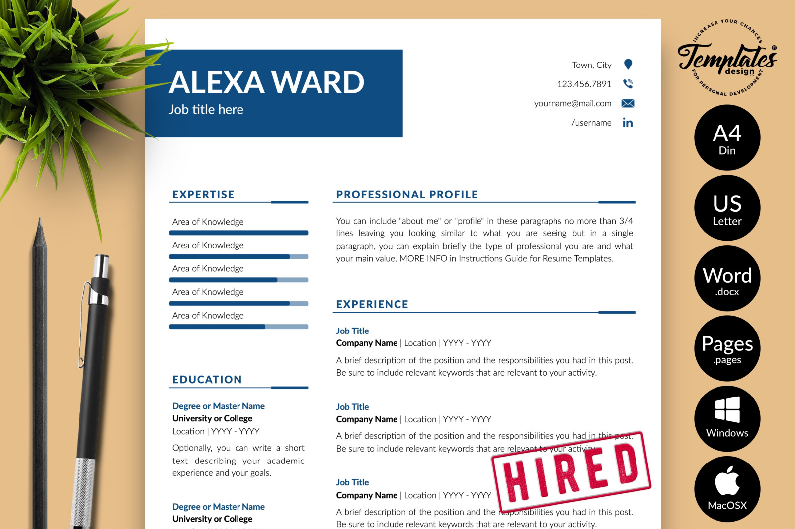 simple resume template for microsoft word  apple pages