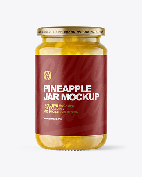 Download Clear Glass Jar With Pineapple Jam Mockup In Jar Mockups On Yellow Images Object Mockups PSD Mockup Templates