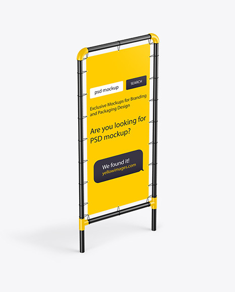 Plastic Stand w/ Matte Banner Mockup - Half Side View