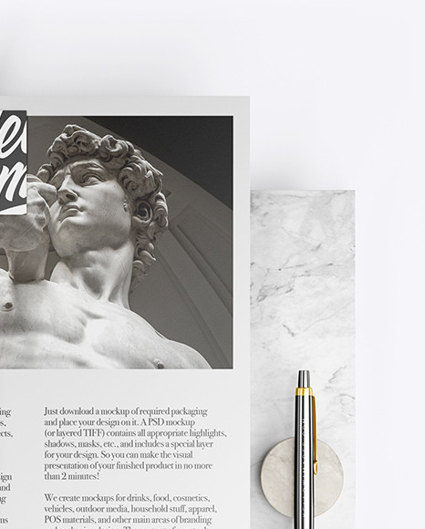 Papers & Two Business Cards with Marble