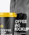 Glossy Bag with Coffee Cup Mockup