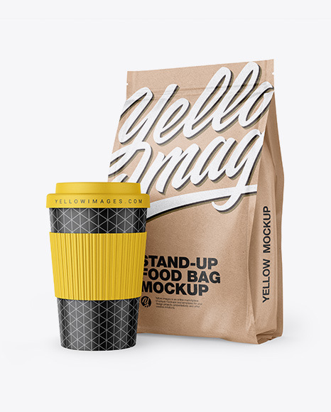 Download Kraft Stand Up Bag With Coffee Cup Mockup In Bag Sack Mockups On Yellow Images Object Mockups PSD Mockup Templates