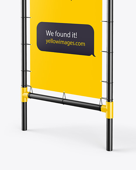 Plastic Stand w/ Matte Banner Mockup - Right Side View