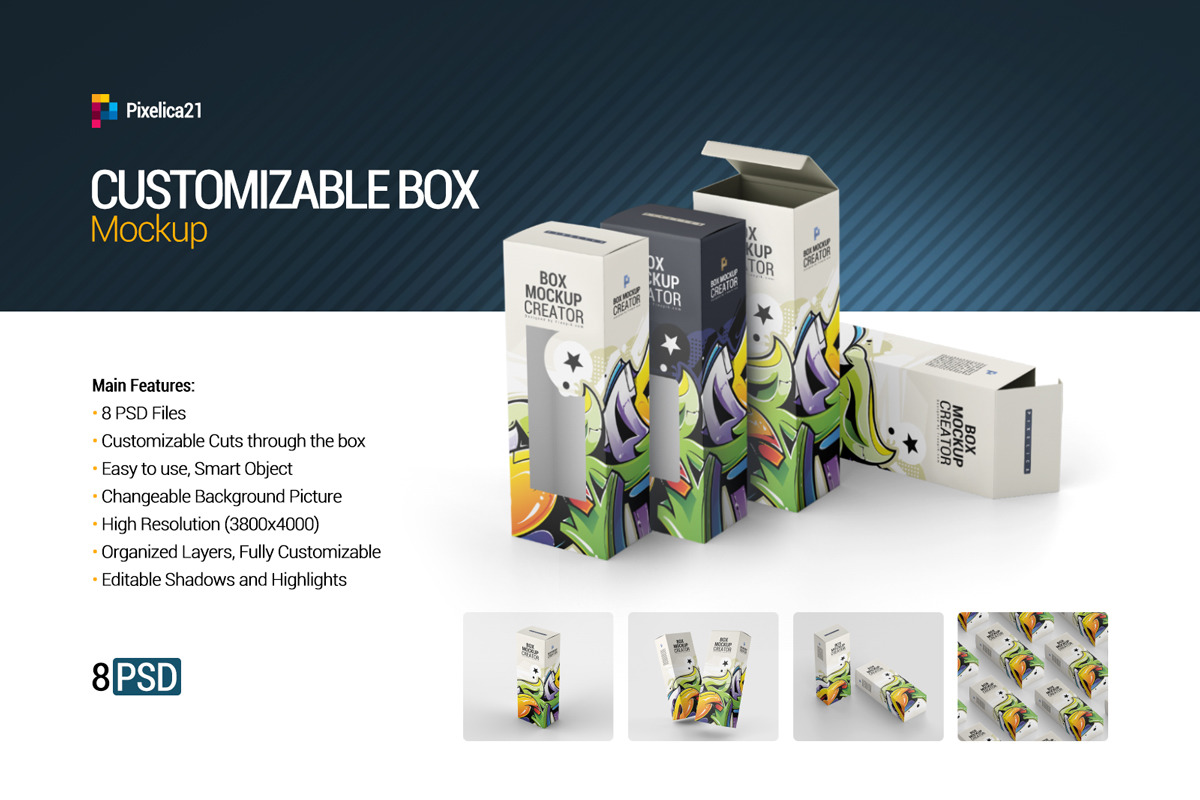 Download Box Mockup In Packaging Mockups On Yellow Images Creative Store PSD Mockup Templates