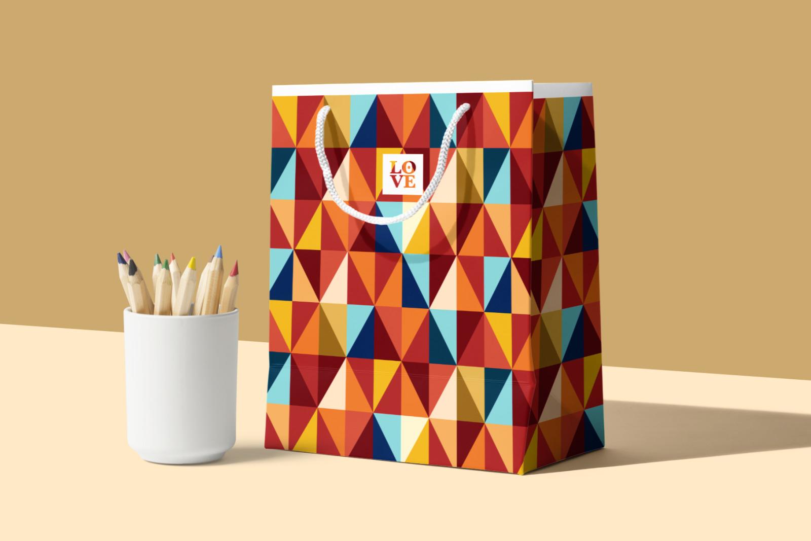 5 Geometric Seamless Patterns - Blood Orange