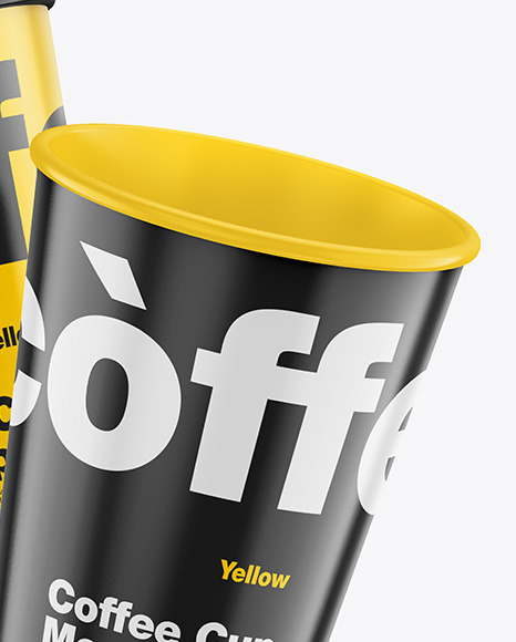 Glossy Coffee Cups Mockup