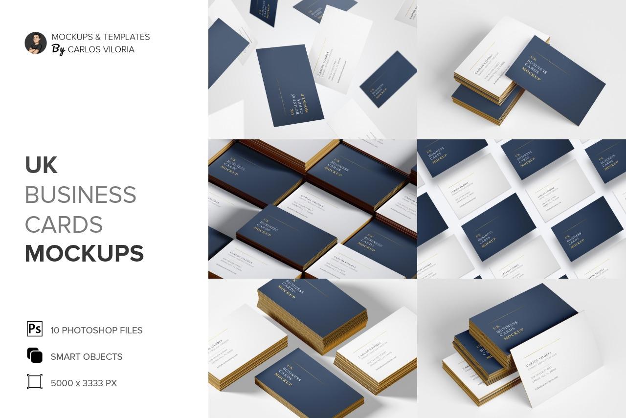 UK Business Cards Mockups