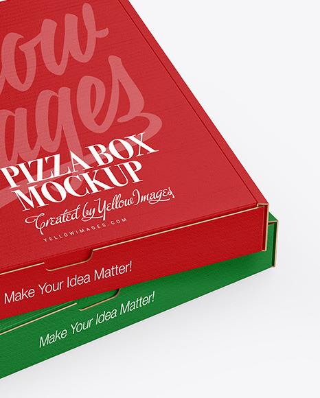 Two Cardboard Pizza Box Mockup