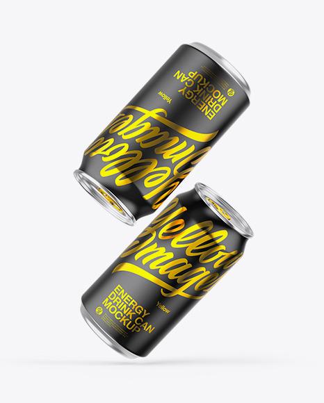 Two Metallic Cans W/ Matte Finish Mockup