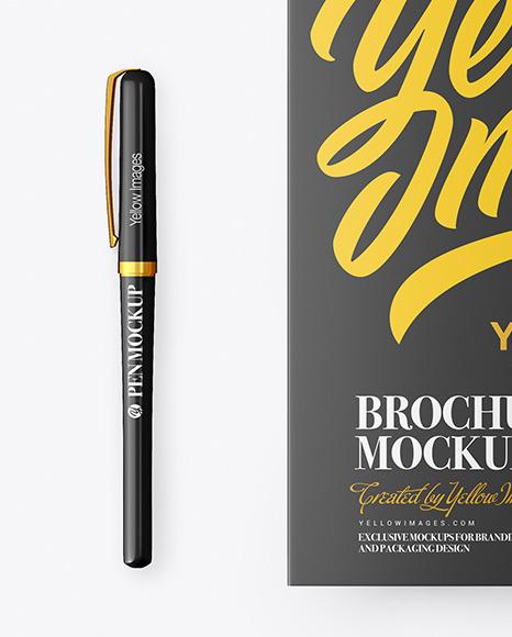 Broсhure with Pen Mockup