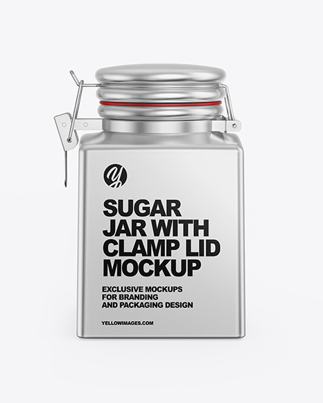 Download Metallic Sugar Jar Mockup In Jar Mockups On Yellow Images Object Mockups PSD Mockup Templates