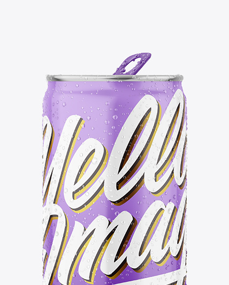 Metallic Drink Can With Glossy Finish & Condensation Mockup