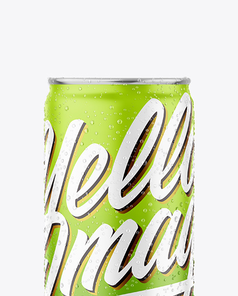 Metallic Drink Can With Matte Finish And Condensation Mockup