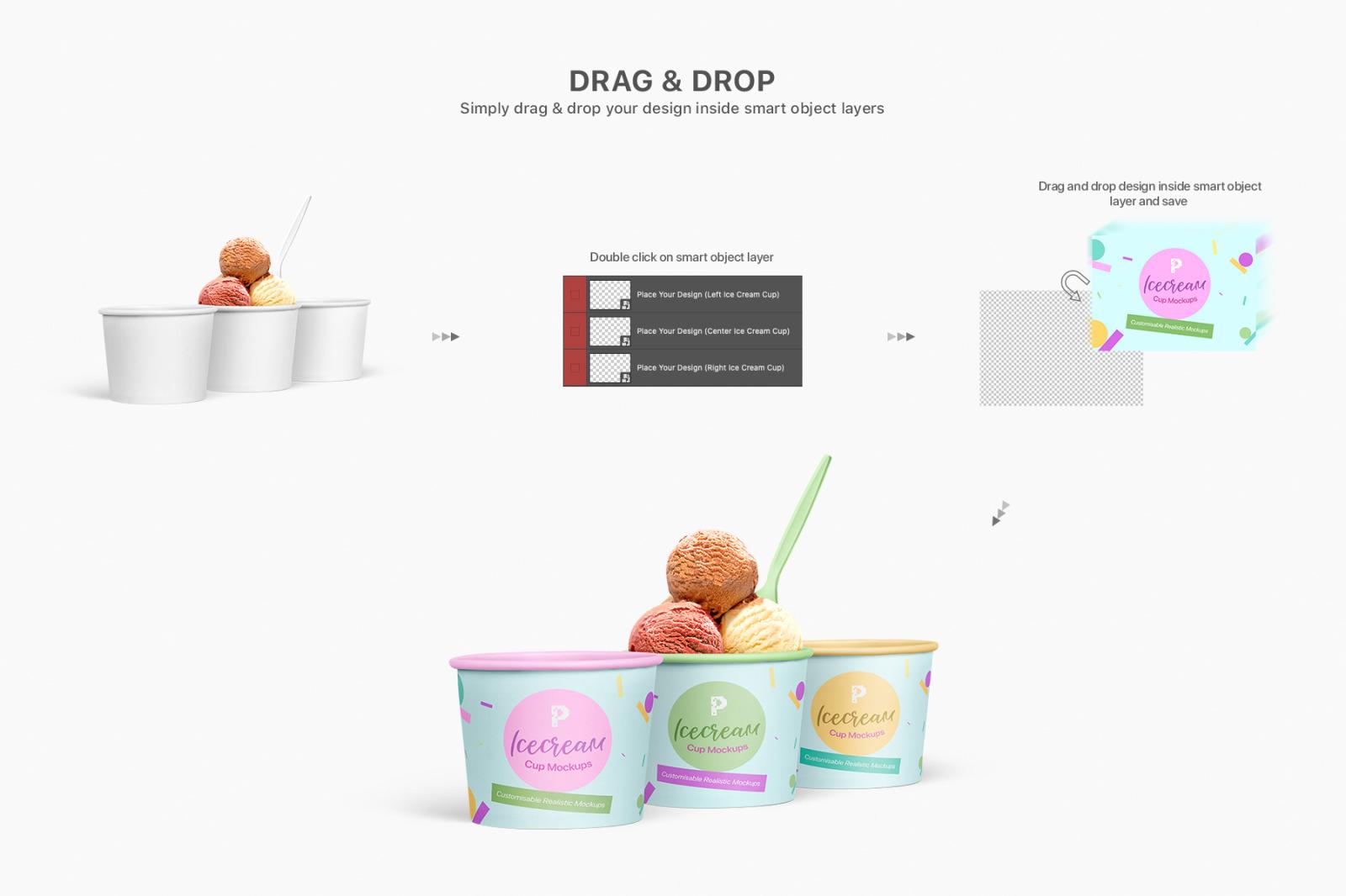 Ice Cream Cup Mockups Set