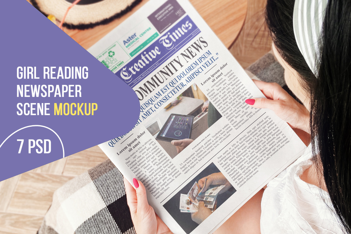 Girl Reading Newspaper Scene Mockup