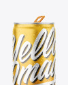 Matte Metallic Drink Can With Condensation Mockup