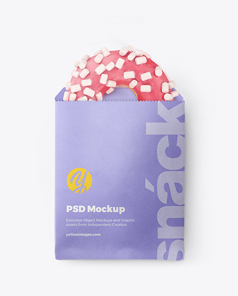 Paper Pack with Pink Glazed Donut Mockup