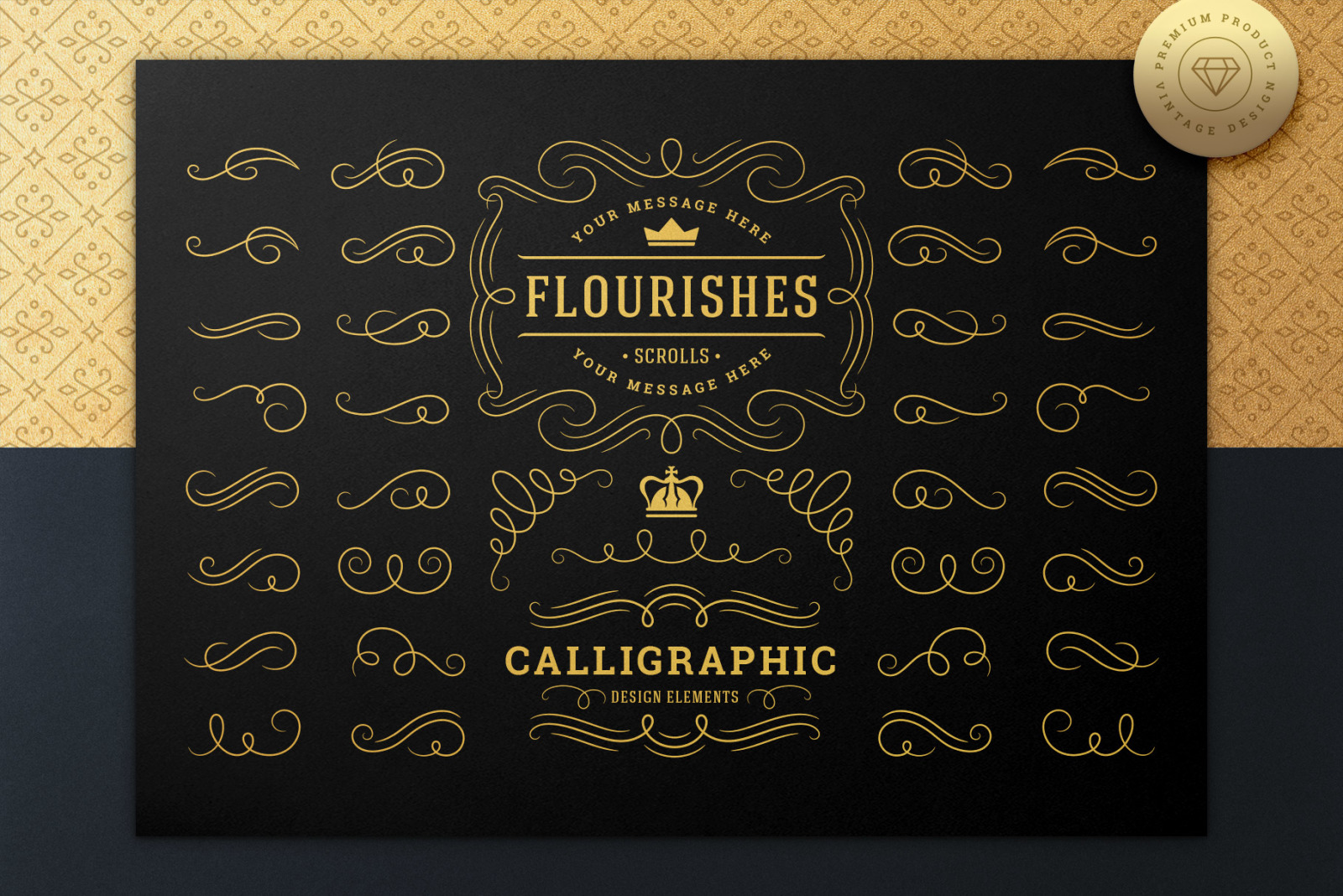 Set of Vintage Flourish Swirls