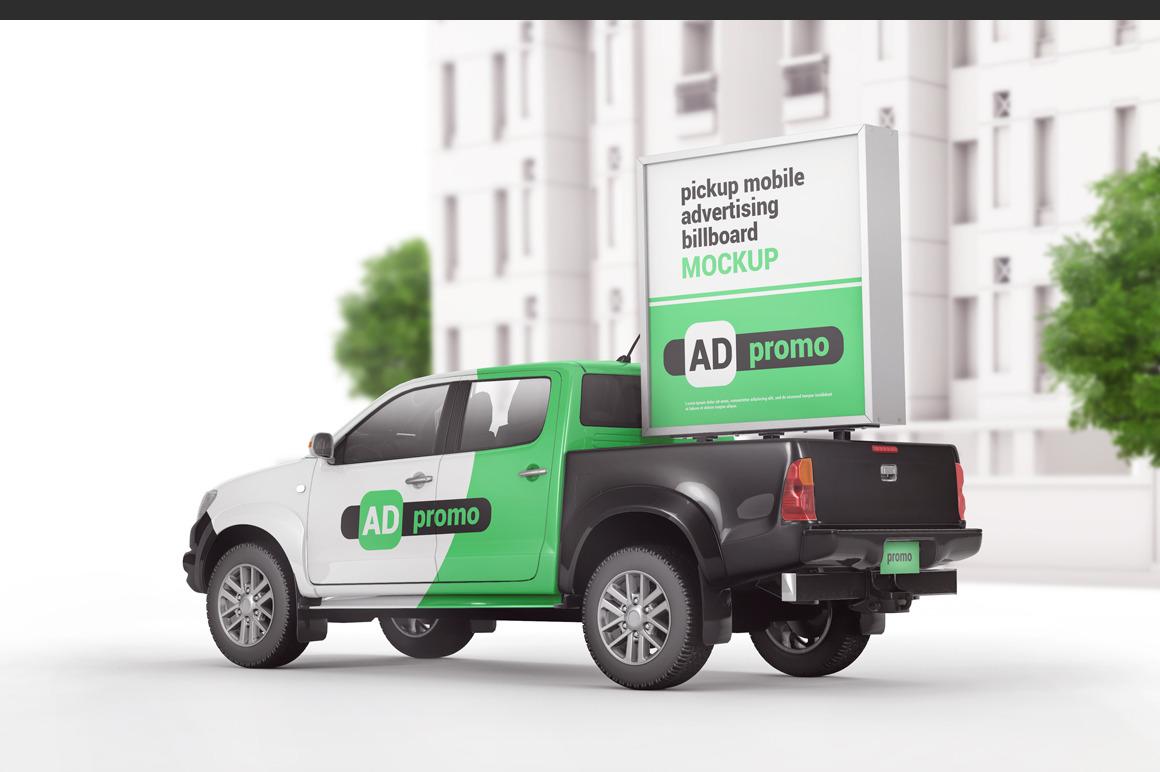 Pickup Mobile  Advertising  Billboard Mockup