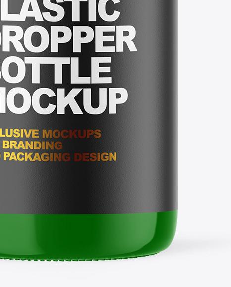 Glossy Plastic Dropper Bottle Mockup
