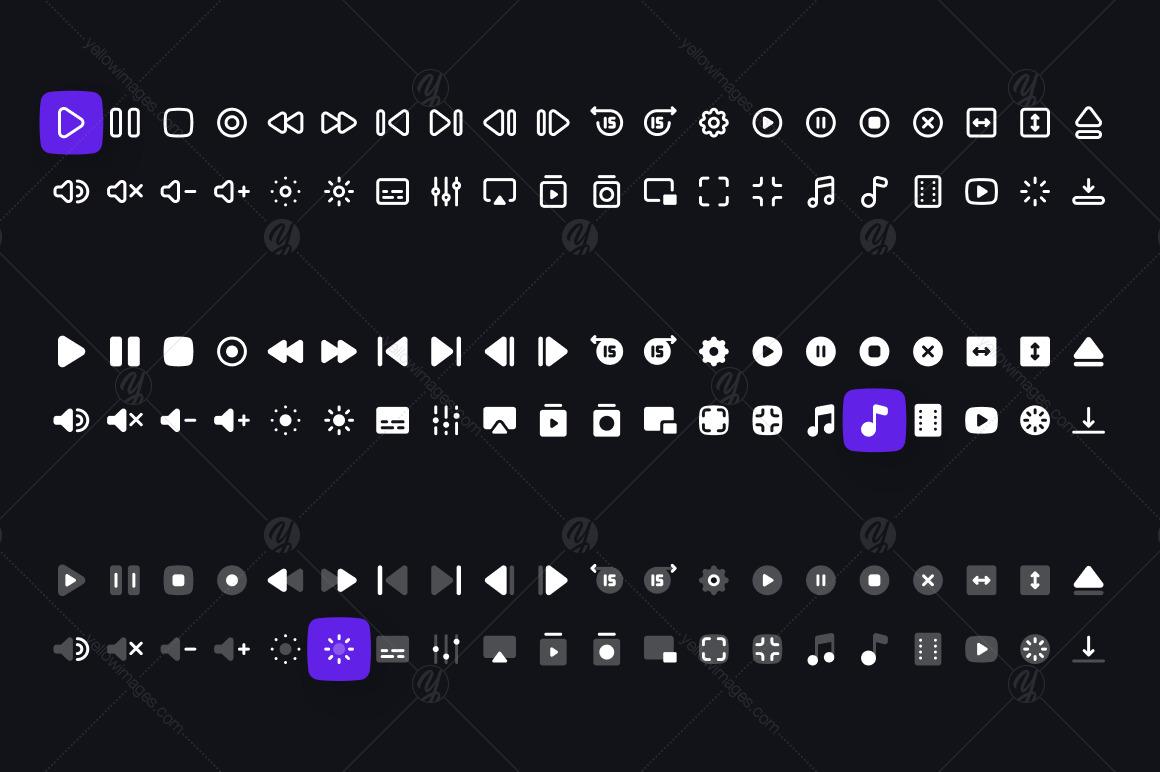 Media Controls Icon Set