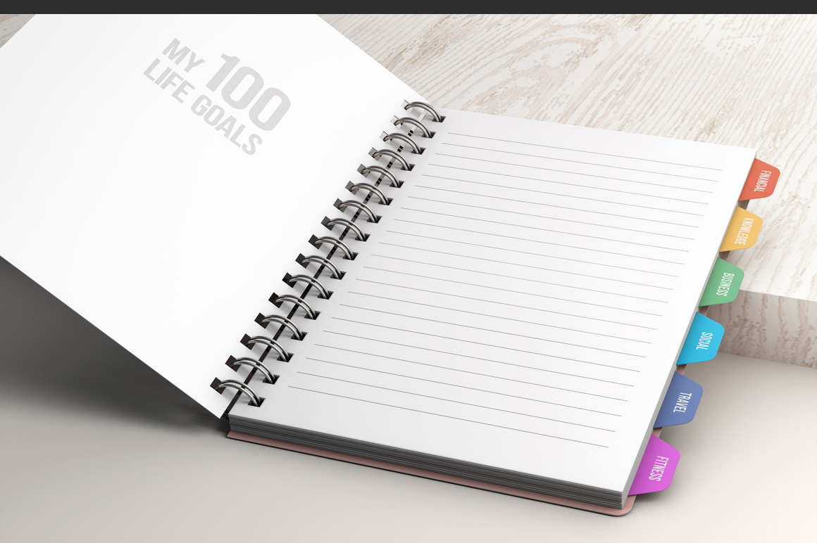 Spiral Notebook With Tabs Mockup