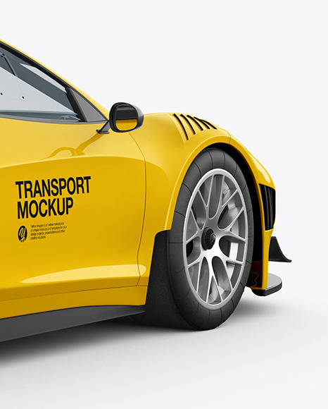 Download Sport Car Mockup Back Half Side View In Vehicle Mockups On Yellow Images Object Mockups PSD Mockup Templates